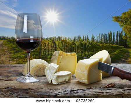 red wine and cheese board in the restaurant