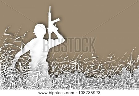 Cutout illustration of a soldier on patrol in a reedswamp with copy-space