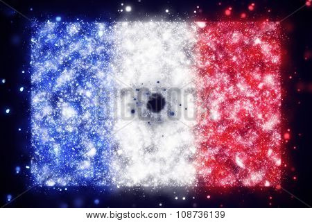 flag of France with bullet hole