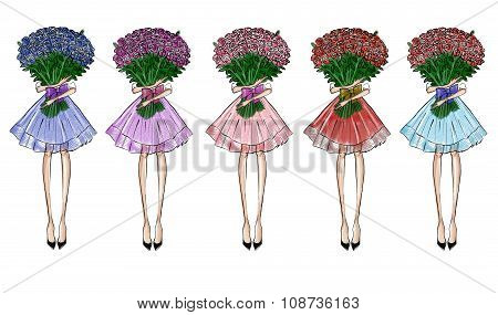 Hand drawn illustration   - Girl with flower rose bouquet