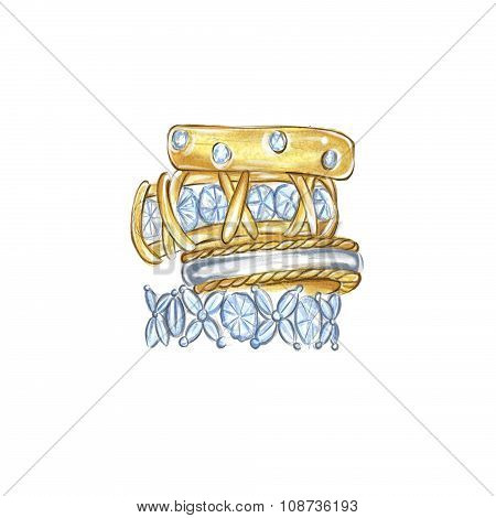 hand drawn watercolor illustration - Diamond and gold rings