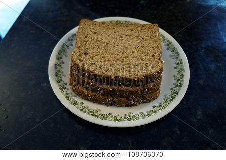 Three Slices of Whole Grain Bread