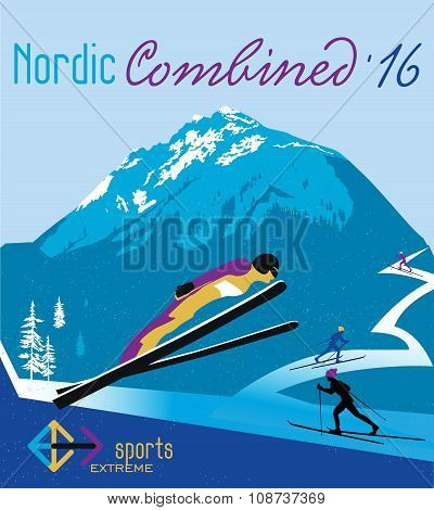 Vector poster Nordic combined in the mountains.