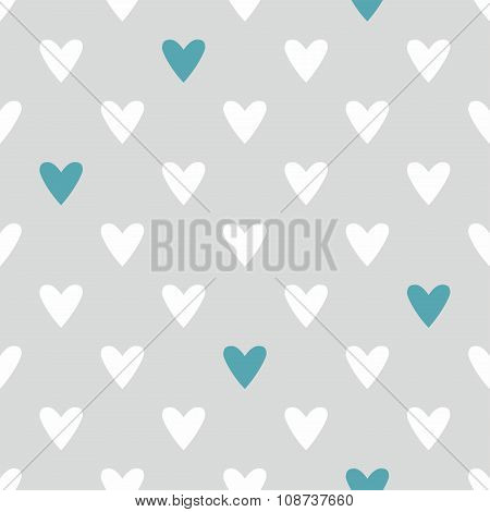 Tile vector pattern with white and blue hearts on grey background