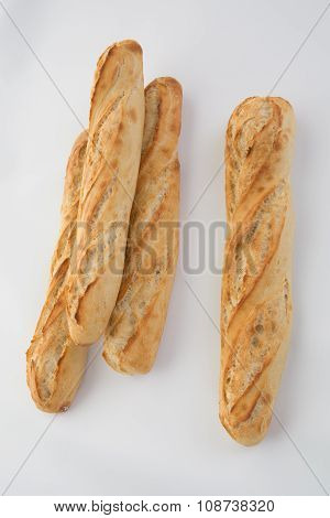 French Baguette Bread Isolated On White
