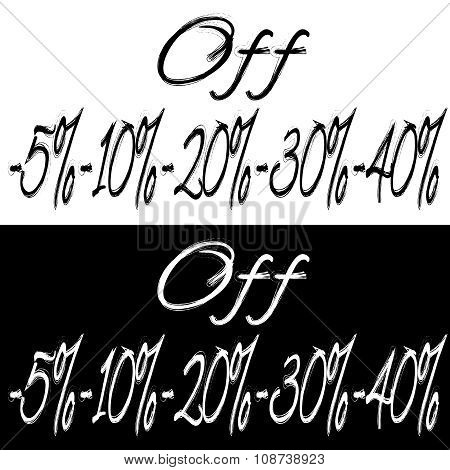 Black and white banner with different discount