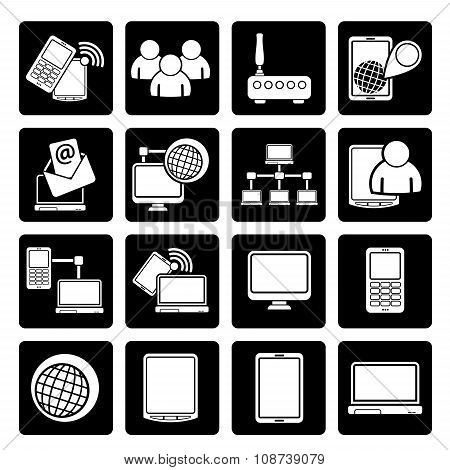 Black Communication and technology equipment icons