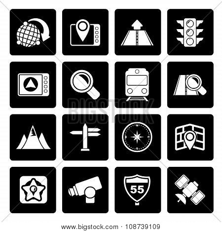 Black Map, navigation and Location Icons