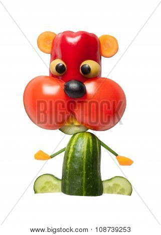 Hamster Made Of Pepper, Tomato And Cucumber