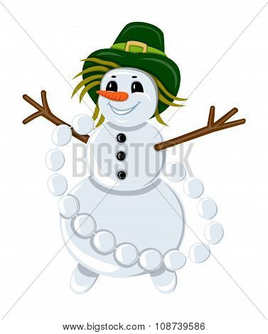 Snowman In A Hat With Garland Of Snowballs