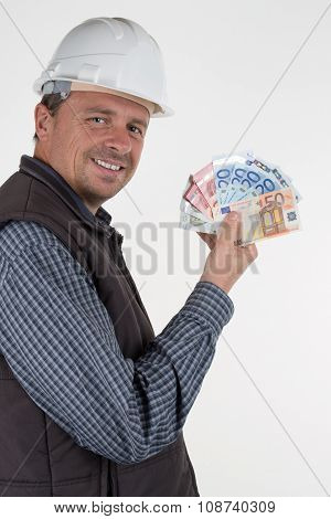 An Inspector with helmet and money