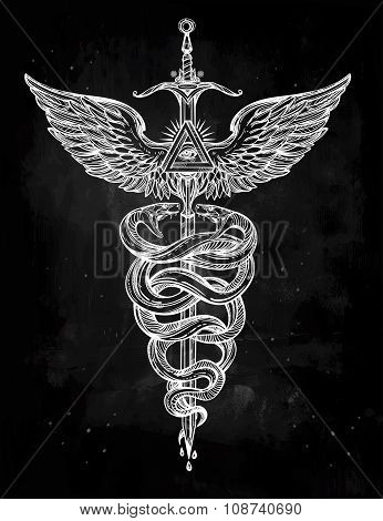 Caduceus symbol of god Mercury illustration.
