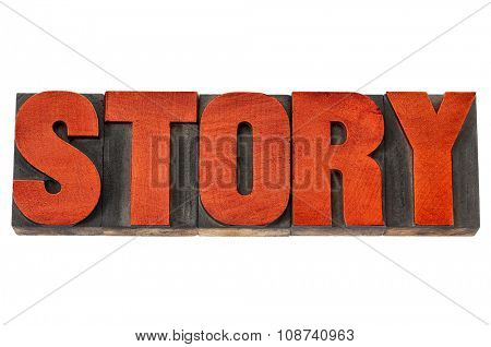 story word - isolated text in vintage letterpress wood type printing blocks stained by red ink