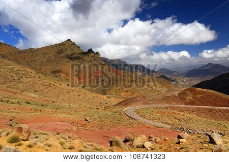 Winding road in Atlas Mountains, Morocco, Africa
