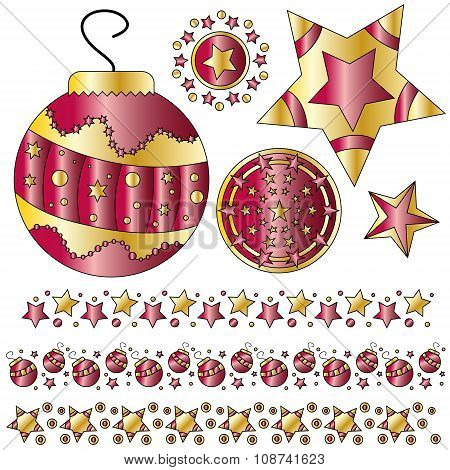 Red and golden Christmas ornaments and trims