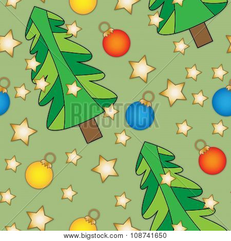 Seamless tiling Christmas texture with trees and baubles