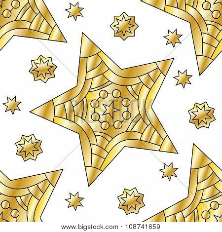 Festive seamless tiling golden star pattern