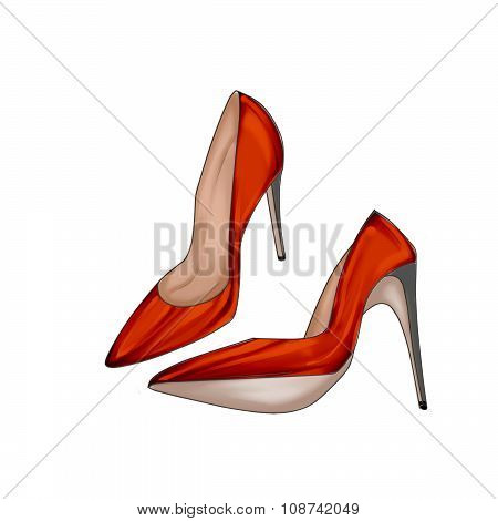 Hand drawn Illustration of a pair of White stiletto shoes
