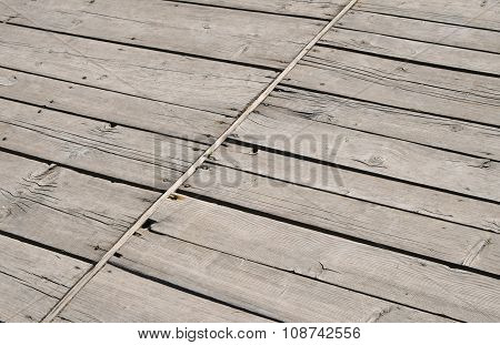 Vintage Wooden Panel With Diagonal Planks And Gaps
