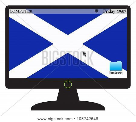 Scottish Computer Screen With On Button