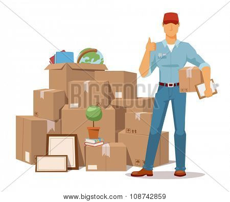 Move service man Ok hand and box vector illustration. Move box and men. Craft box isolated on background. Box for moving, open box. Move business, moving box, relocation box open. Transportation
