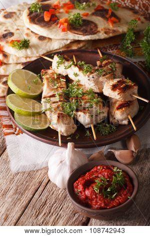 Kebabs Chicken Tikka On Skewers Closeup And Chutneys. Vertical