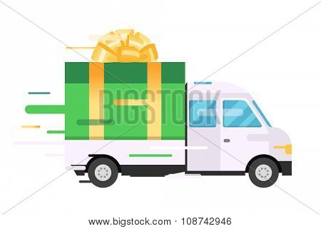 Delivery vector transport truck, van with gift box pack. Delivery service van, delivery truck, gift box. Wedding box, birthday box. Product goods shipping transport. Fast delivery gift box with bow