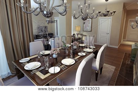 Dining Room Art Deco And Classical Style