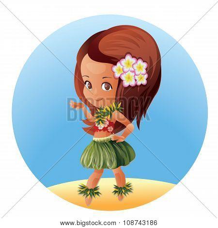 Hula dancer Hawaiian cartoon character