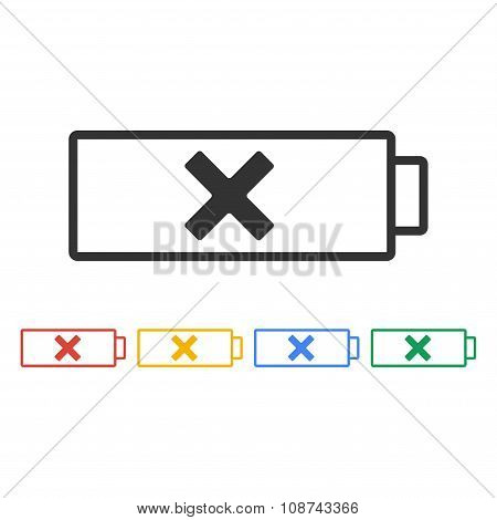 Battery Icon. Flat Design Style.