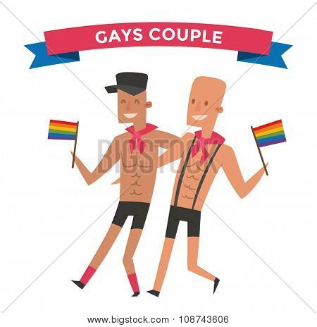Homosexual gay people couple vector. Homosexual marriage man couples. Gay family couple. Gay family vector illustration. Homosexual couples colors free love. Gay parade. Gay flag