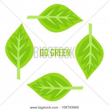 Go Green Border Of Leaves