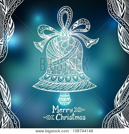 Christmas Bell  in Zen-doodle style  on blur background in blue