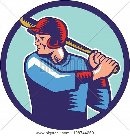 Baseball Player Batter Batting Circle Woodcut