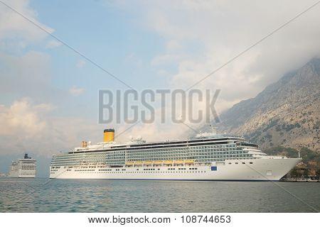 Kotor, Montenegro, November, 16, 2015: Cruise liner in Kotor, Montenegro