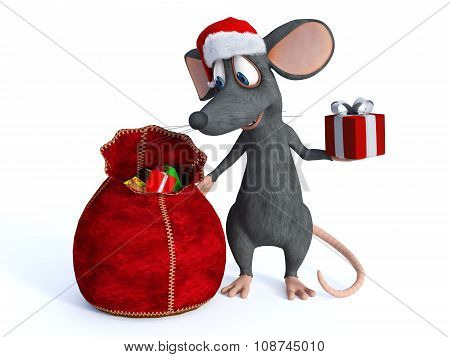 Smiling Cartoon Mouse Handing Out Presents.
