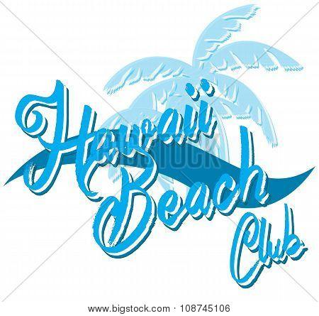 Hawaii Beach Typography, T-shirt Graphics, Vectors, Surf , Sport