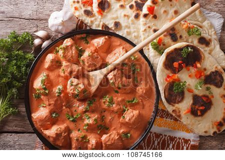 Tikka Masala Chicken And Naan Flat Bread Close-up. Horizontal Top View