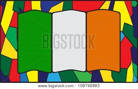 Ireland Flag On Stained Glass