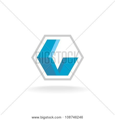 Letter L Industrial Flat Blue Ribbons Logo Inside A Hex