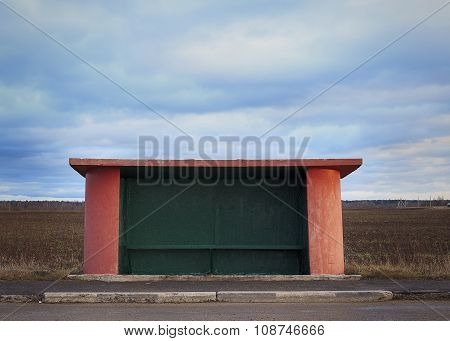 bus stop in the countryside