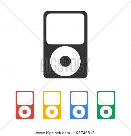 Portable Media Player Icon. Flat Design Style. Vector Eps 10.