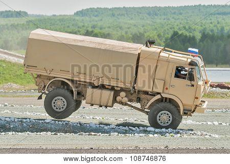 Jump of Kamaz sport truck