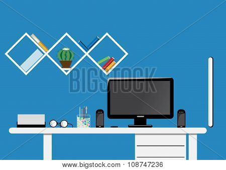 Office desktop workspace. Flat vector mock up