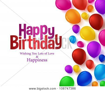 Realistic Colorful Bunch of Happy Birthday Balloons Background