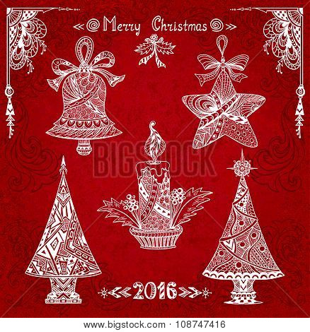 Set Christmas elements  in Zen-doodle style  white on grunge red  background