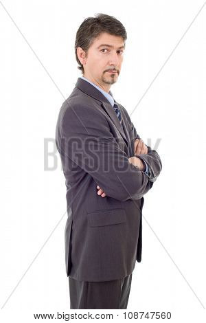 pensive business man portrait isolated on white