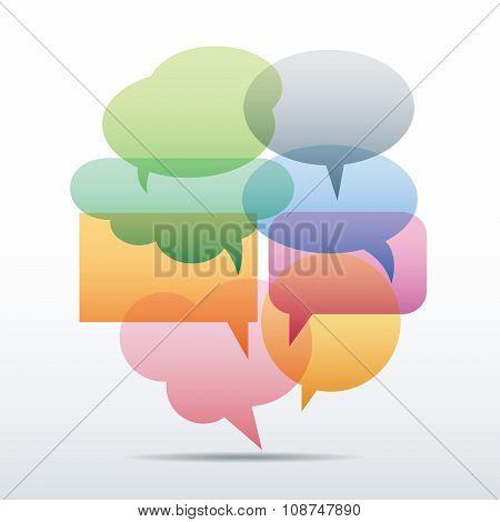 Set Of Flat Color Bubbles For Speech. Elements For Design.