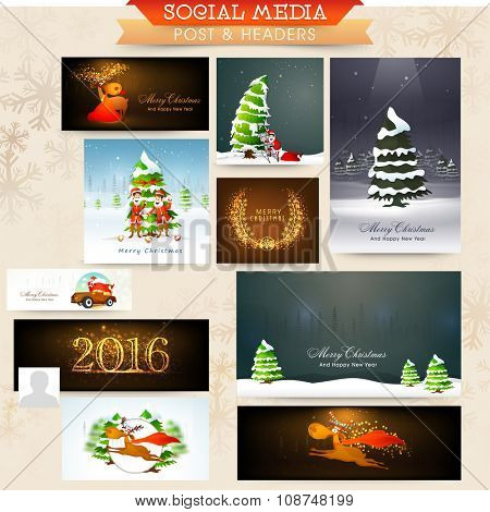 Glossy elegant social media post, ads, headers or banners for Merry Christmas celebration.