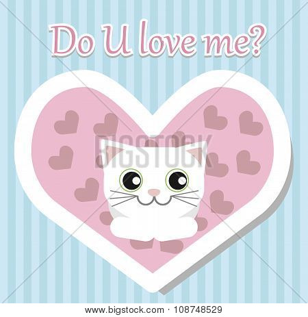 White Cat Lies And Looks For Valentine's Day
